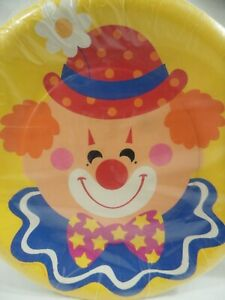 Happy Clown Vintage 80's Party Hot Cold Paper Plates Deep Dish Hallmark NOS