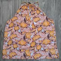 Ann Taylor Loft Sleeveless Floral Tank Top Blouse Shirt Sz XS - Orange