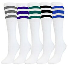 5 PK TUBE SOCKS COTTON ASSORTED COLOR STRIPES OLD SCHOOL SPORTS SOCKS 22 INCHES