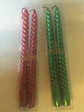 Spiral Candles Dinner Candle Christmas Colored & Unscented 2 Boxes 4 Pack