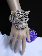 NEW WOMEN GOLD BLACK CUFF BRACELET PANTHER LEOPARD BIG TIGER HEAD RHINESTONES