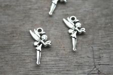 30pcs Fairy Charms Antique Silver Tone Beautiful Long Wings 25mmx11mm