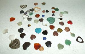 Natural Stone Pendants Lot Vtg Metal Gemstone HEARTS 52 Pcs Jewelry Making