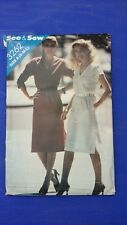 VINTAGE SEE & SEW LADIES V NECK DRESS PATTERN 3262 SIZE S-L FREE SHIPPING