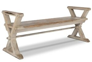 "62"" L Jayden Bench Antique White Recycled Pine X Brace Legs Grey White Wash"