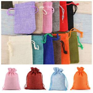 Small Bag 1-10* Natural Linen Pouch Drawstring Burlap Jute Sack Jewelry Bag Gift