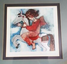 Rosina Wachtmeister Lithograph Girl on Horse Foil Signed Framed Lithograph