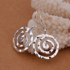Wholesale 925Sterling Silver New Lady Round Screw Thread Dangle Earrings ELB353
