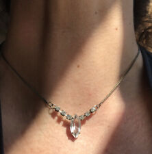Antique Silver Necklace Rock Crystal Point of Light Marquise with Paste Delicate