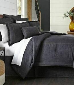 NIP Cremieux Black Denim 100% Cotton King Duvet Cover Only
