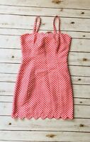 I Heart Ronson Pink Polka Dot Sheath Dress Scallop  Vintage Retro Size 6