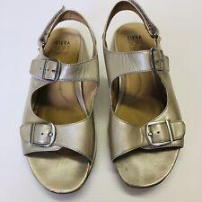 ZIERA Womens Comfort Sandals Sz 40XW Rocker 'Nyssa' Leather Rose Gold Adjustable