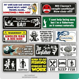 Various Funny Fishing Angling Stickers Car Van Tackle Seat Box Carp Pike Course