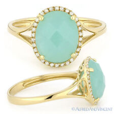 2.81 ct Oval Cut Amazonite Diamond Halo Right-Hand Cocktail Ring 14k Yellow Gold