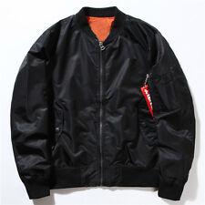 Mens Bomber Jacket Zipper Flight Military Air Force MA-1 Tactical Premium Coat