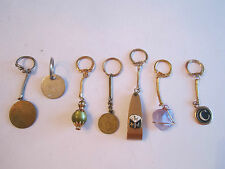 LOT OF 7 KEY RINGS - SOME VTG. TEXACO, AMETHYST, 1945 BRAZIL COIN & MORE-TUB BBA