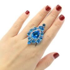 Hot Sell Long Big Swiss Blue Topaz CZ Ladies Present Silver Ring 9.25