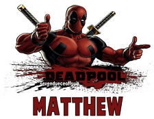 PERSONALIZED DEADPOOL MARVEL CUSTOM T SHIRT PARTY FAVOR BIRTHDAY GIFT ADD NAME