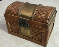 Small Treasure Chest Trinket Box Container Wicker Wood Metal Lidded Weave Trunk
