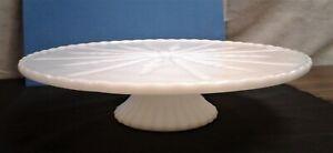 Vintage Starburst Cake Stand Plate Milk Glass White 1950s