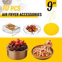 10Pcs 9'' Non-stick Air Fryer Accessories Set Baking Cooking Cake Barrel Pan Mat