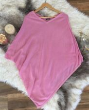 100% CASHMERE Pink Poncho One Size Has Faint Stains Knit Made In Nepal