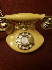 Vintage Radio Shack model 43-324A rotary phone ivory and gold tone -!