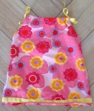 Hanna Andersson Dress Sz 90 3T Floral Bows Multicolored Cotton Toddler Flowers