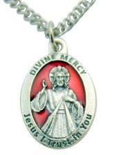 Divine Mercy of Jesus Medal Enamel on Metal Italian Pendant 3/4 Inch W Chain
