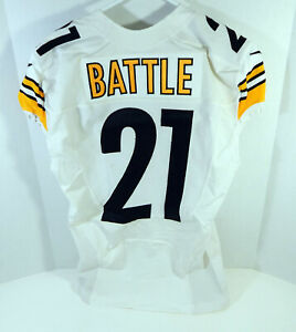 2013 Pittsburgh Steelers John Battle #21 Game Issued White Jersey 42 DP12451
