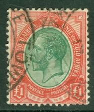 SG 17a South Africa 1913 £1 pale olive-green & red. Very fine used, few short...