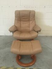 Brown Leather Ekornes Stressless Reclining Armchair With Footstool