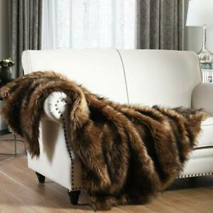 Faux Fur Plush Blanket Elegant Fluffy Luxury Brown Cozy Warm Winter Blanket