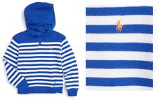Ralph Lauren Boy's  Stripe Hoodie, White/Cruise Blue, Size 7, MSRP $55