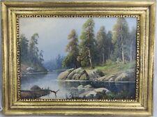 Borg Axel Schweden 1847-1916 Gemälde Fluss Landschaft mit Bäumen ~1900