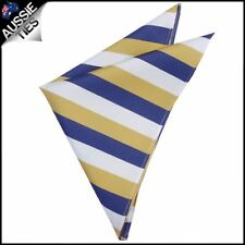 Mens Blue, Yellow & White Striped Pocket Square Handkerchief h