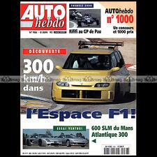 AUTO HEBDO N°986-b VENTURI 600 SLM ATLANTIQUE 300 RENAULT ESPACE F1 INDY 500 '95