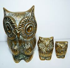 3 Vintage Sold Brass Owl Ornaments/statues , graduated sizes, set/group