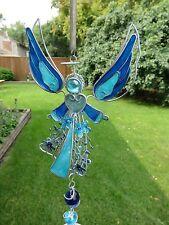 Blue Angel Wind Chime Garden Yard Decor Filigree Flowers New Chimes