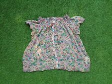 ZARA Floral Chiffon See Thru ladies Blouse size L 100% Silk