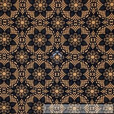 BonEful FABRIC Cotton Quilt Orange Black Goth*ic Flower Damask Old Lace NR SCRAP