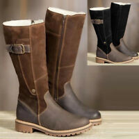Winter Warm snow Shoes Womens Leather Riding fleece Lined Mid-calf Boots Retro W