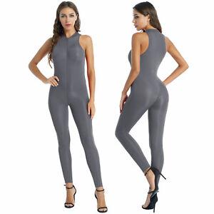 Women Sexy Zipper Sleeveless Bodysuit Stretchy Catsuit Jumpsuit Romper Clubwear