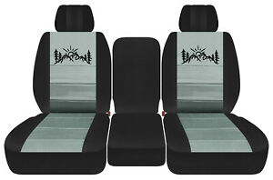 front truck seat covers blk-steel gray w/mountain  fits Dodge Ram11-18 1500 2500