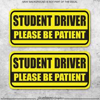 2x Student driver warning decal vinyl caution sticker teen driver student school
