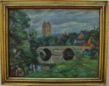"Albert Krüger 1885-1965, ""HORBY, église avec âge pont"", daté 1928"