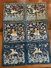 Antique Chinese Qing Dynasty Three Silk Rank Badge Robe Framed