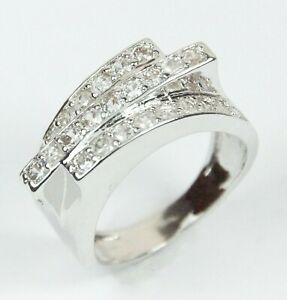 Women's White Gold Filled Clear Crystal Ring UK Size P