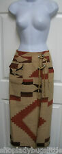 RALPH LAUREN COUNTRY SOUTHWESTERN INDIAN BLANKET WOOL WRAP CONCHO LACE SKIRT M