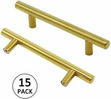 """15Pack Gold Cabinet Handles 96mm(3 3/4"""") Hole Centers Kitchen Cabinets Drawer"""
